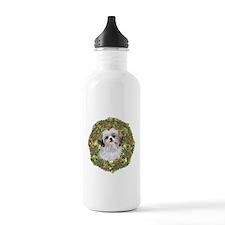 Shih Tzu Xmas Wreath Water Bottle