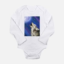 Wolf and Full Moon Long Sleeve Infant Bodysuit