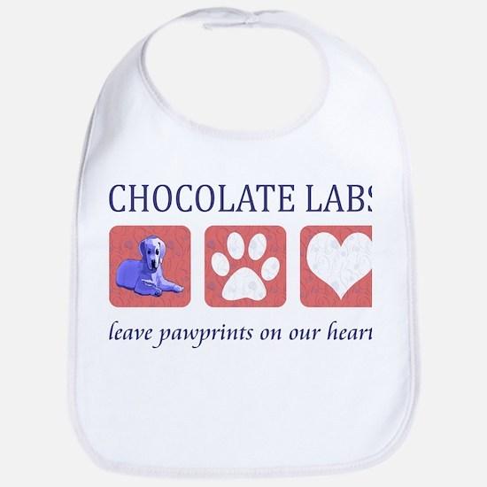 Chocolate Lab Pawprints Bib