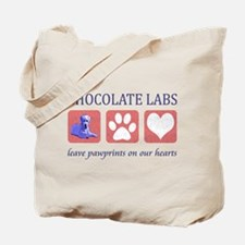 Chocolate Lab Pawprints Tote Bag
