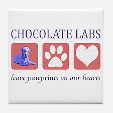 Chocolate Lab Pawprints Tile Coaster