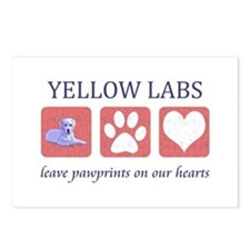 Yellow Lab Pawprints Postcards (Package of 8)