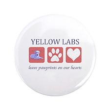 """Yellow Lab Pawprints 3.5"""" Button"""