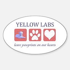 Yellow Lab Pawprints Sticker (Oval)