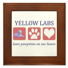 Yellow Lab Pawprints Framed Tile