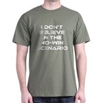 Classic Captain Kirk Quote Dark T-Shirt - Classic James T Kirk quote! I don't believe in the no-win scenario. He said it about the Kobayashi Maru test. Awesome gift for the Star Trek fan! See all our Trekkie designs at Scarebaby dot com! - Availble Sizes:Small,Medium,Large,X-Large,X-Large Tall (+$3.00),2X-Large (+$3.00),2X-Large Tall (+$3.00),3X-Large (+$3.00),3X-Large Tall (+$3.00) - Availble Colors: Black,Cardinal,Navy,Military Green,Red,Royal,Brown,Charcoal,Kelly Green
