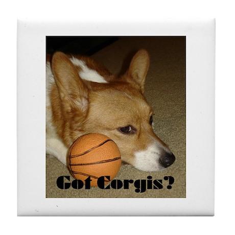 Welsh Corgi Basketball Tile Coaster