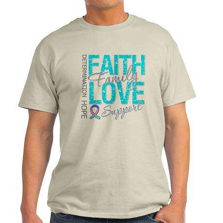 Thyroid Cancer Faith Family Light T-Shirt