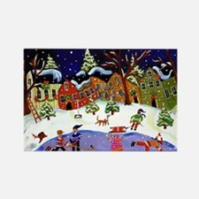 Folk Art Holiday Fun Rectangle Magnet