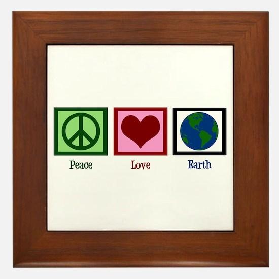 Peace Love Earth Framed Tile
