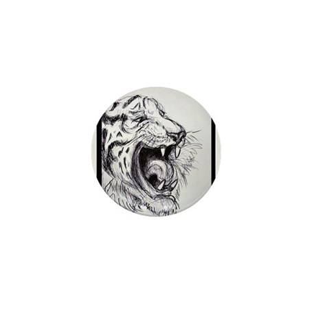 Growling, Tiger, Mini Button