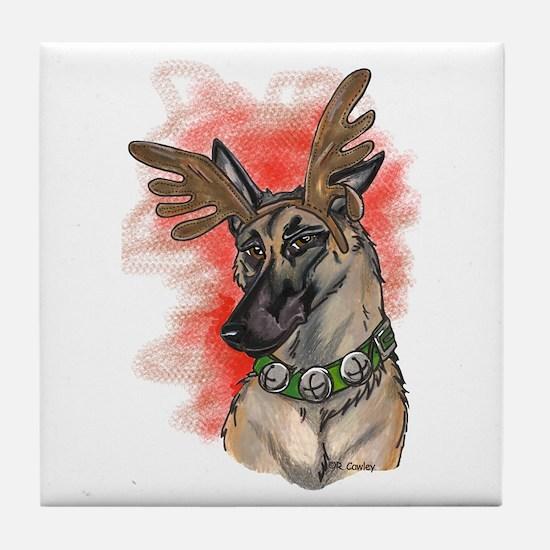 Malinois Reindog Tile Coaster