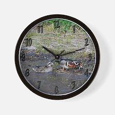 Wood Duck Pair Wall Clock