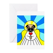 Pug Angel - Fawn Greeting Cards (Pk of 10)