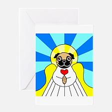 Pug Angel - Fawn Greeting Card