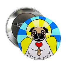 "Pug Angel - Fawn 2.25"" Button"