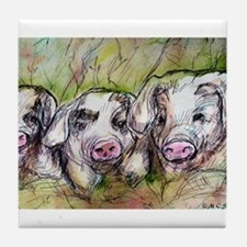 Three Little Pigs, Cute, Tile Coaster