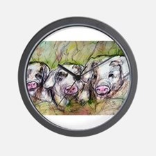 Three Little Pigs, Cute, Wall Clock