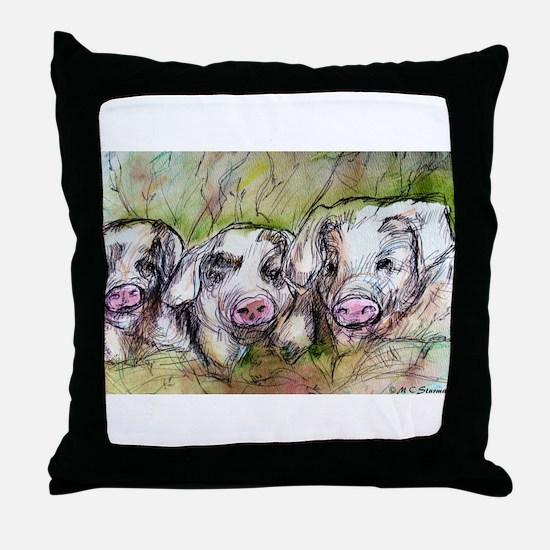 Three Little Pigs, Cute, Throw Pillow