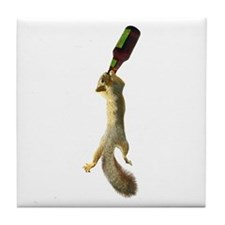 Squirrel with Beer Tile Coaster