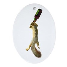 Squirrel with Beer Ornament (Oval)