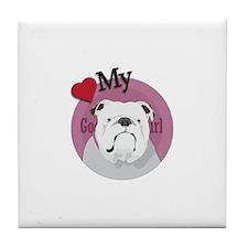 Lov good girl Bulldog Tile Coaster