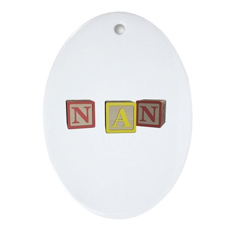 Nan Alphabet Blocks Ornament (Oval)