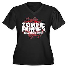 Zombie Hunter Women's Plus Size V-Neck Dark T-Shir