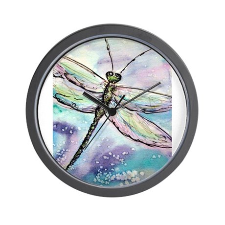 dragonfly beautiful wall clock by meowries