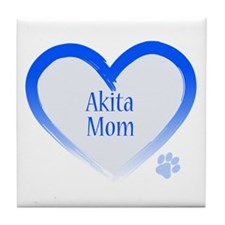 Akita Blue Heart Tile Coaster