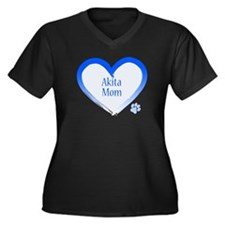 Akita Blue Heart Women's Plus Size V-Neck Dark T-S