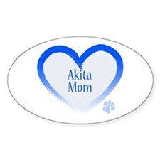 Akita Blue Heart Decal