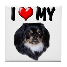 I Love My Pekingese (black) Tile Coaster