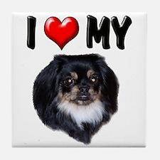 I Love My Pekingese (black) Tile Coaster