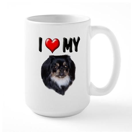 I Love My Pekingese (black) Large Mug