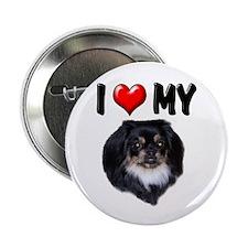"I Love My Pekingese (black) 2.25"" Button (10 pack)"