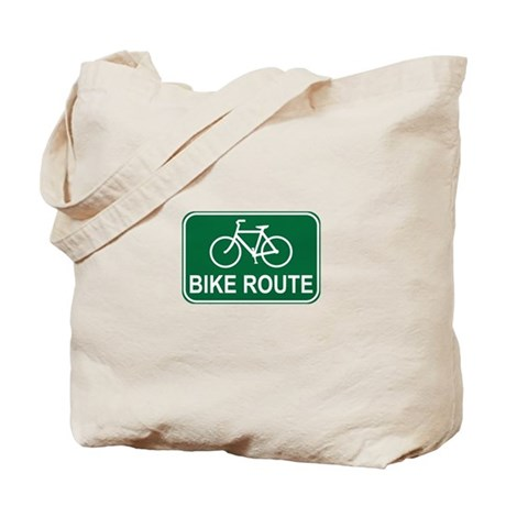 Bike Route Sign Tote Bag