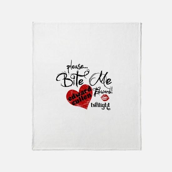 Please Bite Me Edward Throw Blanket