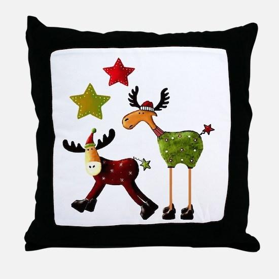 Winter Star Mooses Throw Pillow