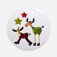Winter Star Mooses Ornament (Round)