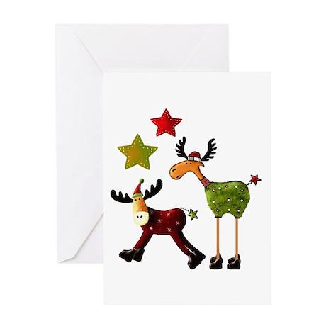 Winter Star Mooses Greeting Card