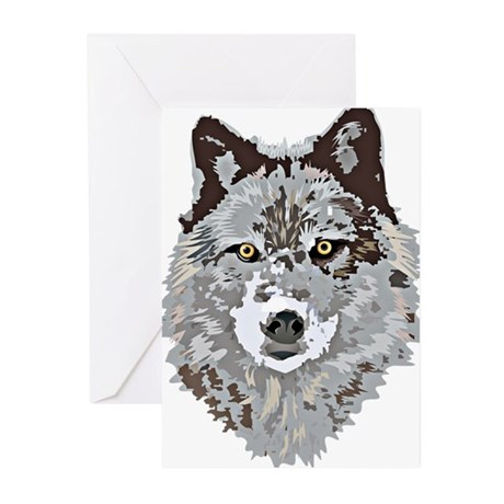 Stylized Grey Wolf Greeting Cards (Pk of 20)