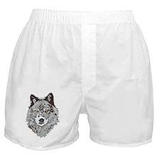 Stylized Grey Wolf Boxer Shorts