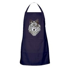 Stylized Grey Wolf Apron (dark)