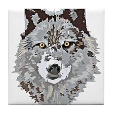 Stylized Grey Wolf Tile Coaster