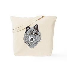 Stylized Grey Wolf Tote Bag