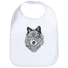 Stylized Grey Wolf Bib