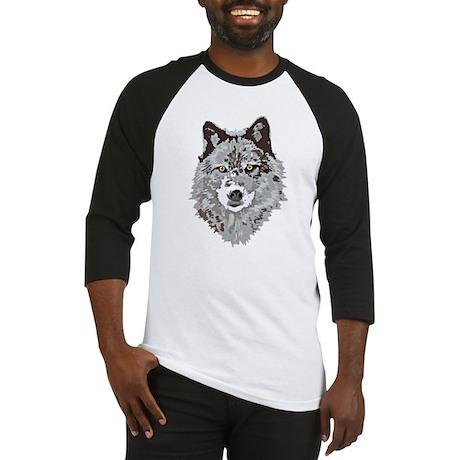 Stylized Grey Wolf Baseball Jersey