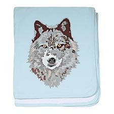 Stylized Grey Wolf baby blanket