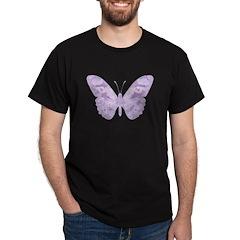 Lavender Butterfly Black T-Shirt